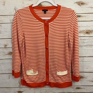 Talbots Striped Spring Buttoned Front Cardigan